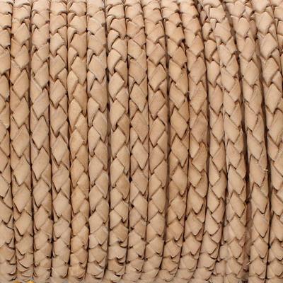 Lederband rund geflochten, 100cm, 4mm, NATUR