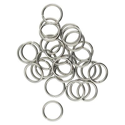 Bindering, rund, 10 Stück, 9mm, innen 6mm, Metall, silberfarben