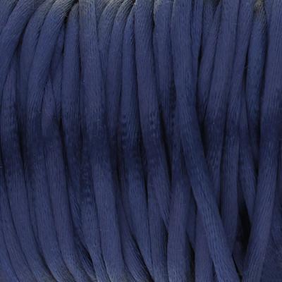 Satinband, Satinkordel, rund (100cm), 2,5mm breit, blau