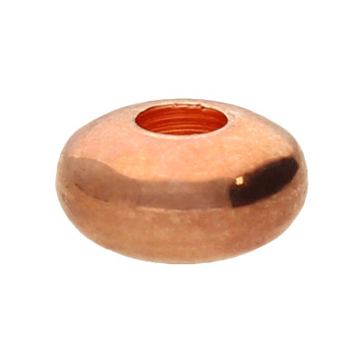 Perle, innen 2mm, 6x3mm, roségoldfarben, Metall
