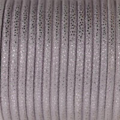 Nappaleder, rund gesäumt, 100cm, 4mm, METALLIC PASTELLVIOLETT mit Rochenprägung