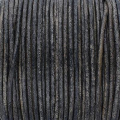 Rundriemen, Lederschnur, 100cm, 2mm, VINTAGE GRÜNGRAU meliert