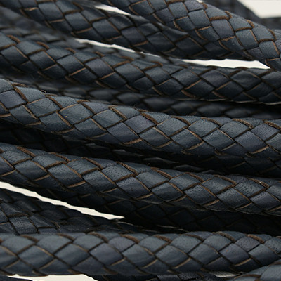 Premium Lederband rund geflochten, 100cm, 8mm, NAVY