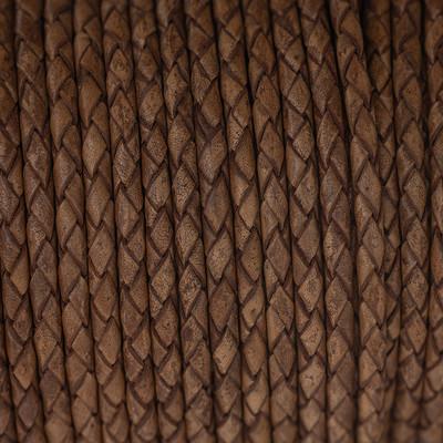 Lederband rund geflochten, 100cm, 4mm, TEAKHOLZFARBEN meliert