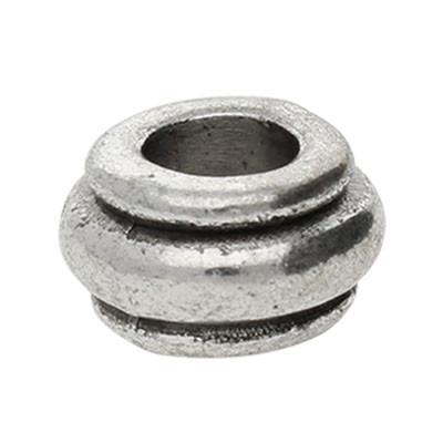 Großlochperle, innen 4,5mm, 10x5,5mm, antik-silberfarben, Metall