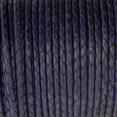 Lederband rund geflochten, 100cm, 4mm, VEILCHENBLAU