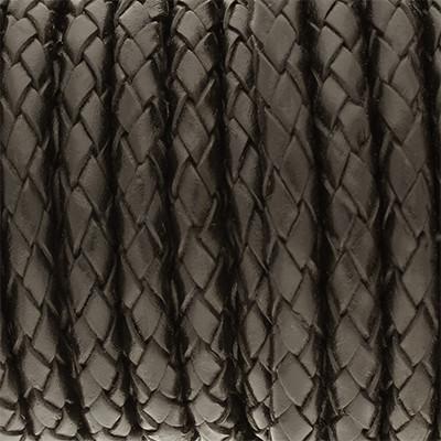 Lederband rund geflochten, 100cm, 4mm, SCHWARZ