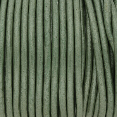Rundriemen, Lederschnur, 100cm, 3mm, METALLIC DEEP GRASS GREEN