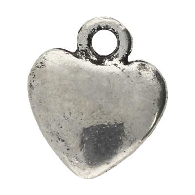 Anhänger, Herz, 16x14x2mm, antik-silberfarben, Metall
