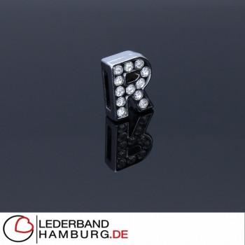 Slidercharm, Buchstabe R, 12x13x4, innen 8x2mm, silberfarben, Metall
