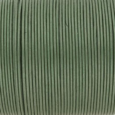 Rundriemen, Lederschnur, 100cm, 1mm, METALLIC DEEP GRASS GREEN