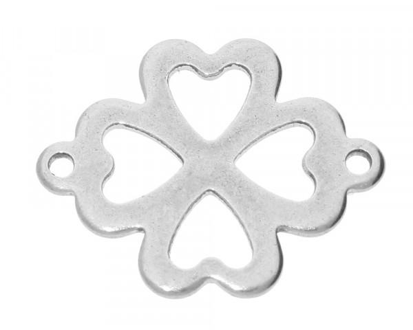Verbinder, Kleeblatt, 21x16,5x1mm, Ösen 1,2mm, Edelstahl