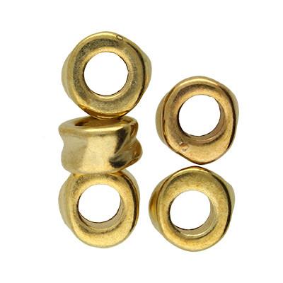 Großlochperle (5 Stück), innen 5mm, 10x5,5mm, goldfarben, Acryl