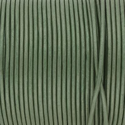 Rundriemen, Lederschnur, 100cm, 2mm, METALLIC DEEP GRASS GREEN