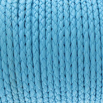 Kunstleder rund geflochten (100cm), 3mm breit - BLAU
