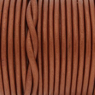 Rundriemen, Lederschnur, 100cm, 3mm, METALLIC POTTERS CLAY
