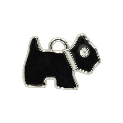 Anhänger, Hund, 20x16mm, schwarz, Metall