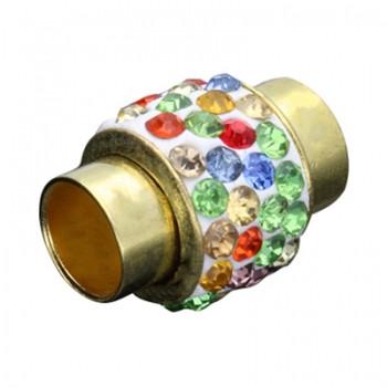 Magnetverschluss mit bunten Strasssteinen, 7mm, 18x13mm, Metall goldfarben