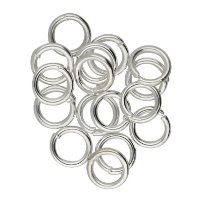 Bindering, rund, 10 Stück, 6mm, innen 4mm, Metall, silberfarben