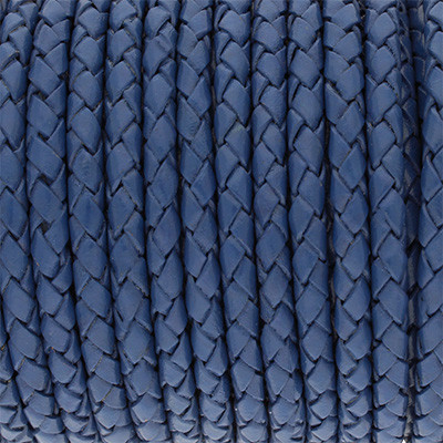 Lederband rund geflochten, 100cm, 3mm, BLAU
