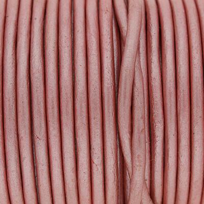 Rundriemen, Lederschnur, 100cm, 3mm, METALLIC WILD ROSE
