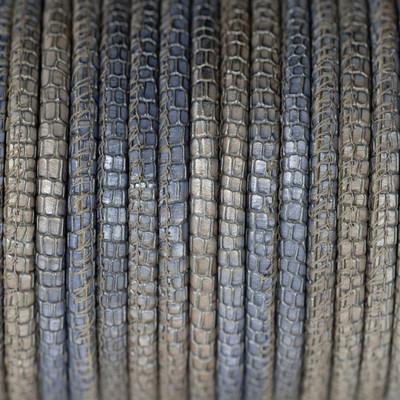 Premium Nappaleder rund gesäumt, 100cm, 4mm, Metallic Blau meliert Reptilprägung