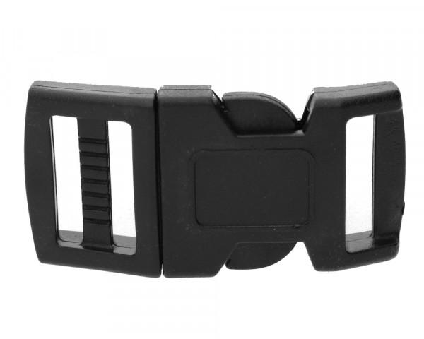 Klickverschluss / Steckverschluss aus Kunststoff, schwarz, 44x20x7mm, Öffnung 16x3mm