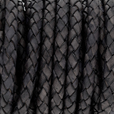 Lederband rund geflochten, 100cm, 5mm, VINTAGE SCHWARZGRAU