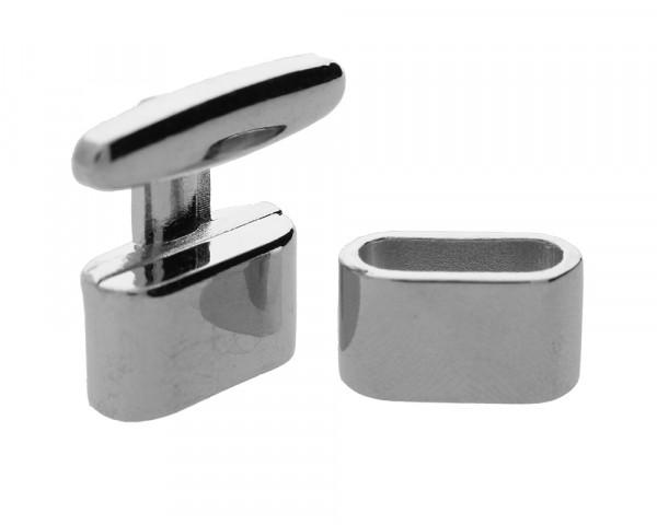 Armbandhaken-Verschluss, 14x5mm, Metall, silberfarben / Kappe 24x22mm, Öse 17x10mm