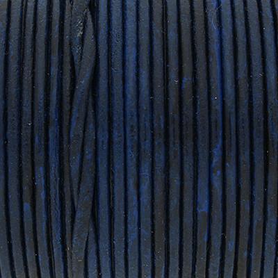 Rundriemen, Lederschnur, 100cm, 3mm, BLAU MELIERT VINTAGE