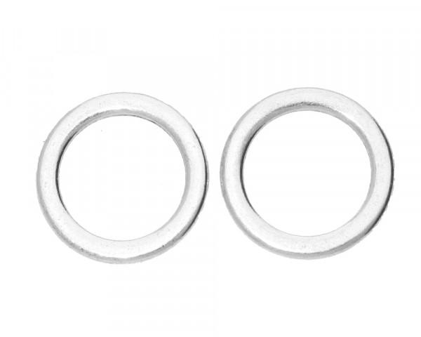 Zierring (2 Stück) ,15x15x1,50mm, innen 11mm, silberfarben, Metall