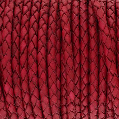 Lederband rund geflochten, 100cm, 5mm, HIMBEERE Vintage