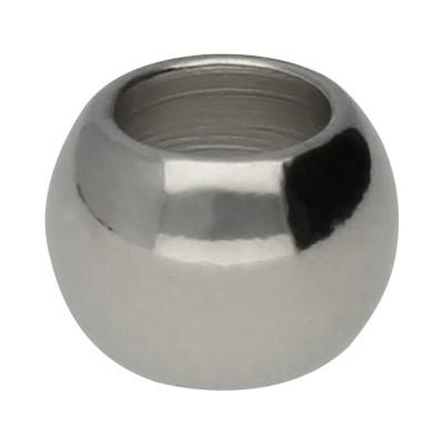 Grosslochperle, innen 4mm, 7x5mm, platinfarben, Metall
