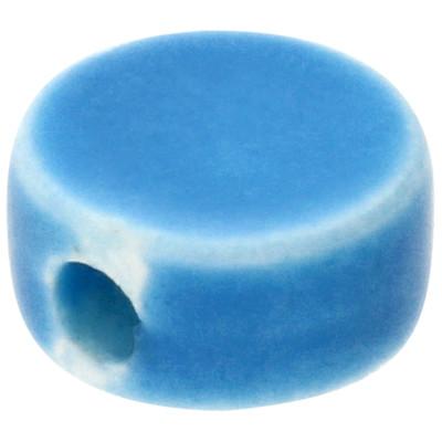 Perle, innen 2mm, 9x5mm rund, türkis, Porzellan