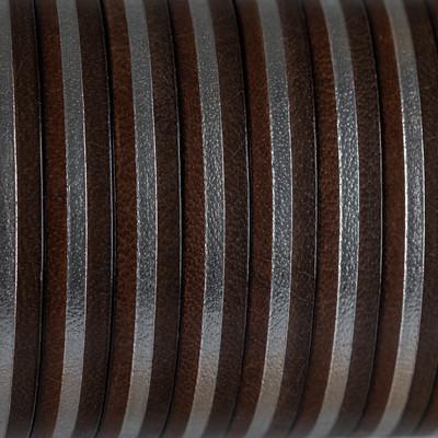 Flachriemen Rindsleder, 100cm, 10x2mm, DUNKELBRAUN-SILBER gestreift