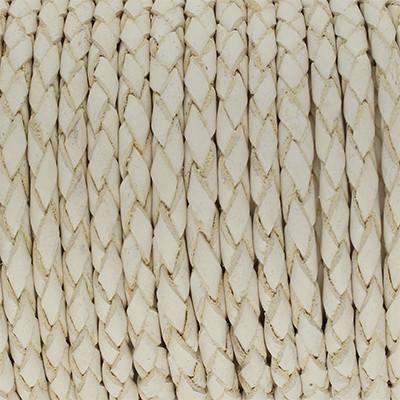 Lederband rund geflochten, 100cm, 3mm, WEISS mit Naturkanten