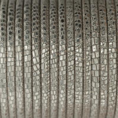 Premium Nappaleder rund gesäumt, 100cm, 4mm, METALLIC CREME Reptilprägung