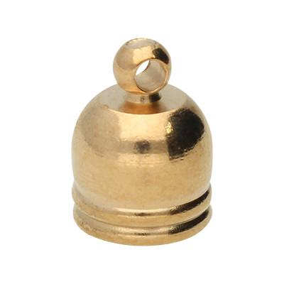 Endkappe mit Öse, 12x10mm, Loch-Ø 7,0mm, Metall, roségoldfarben
