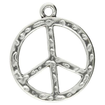 Anhänger, Peace, Ø 23mm, antik-silberfarben, Metall