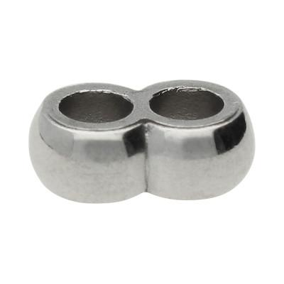 Slider, Doppel-Perle, 4x11x7mm, Löcher innen 3mm, Edelstahl