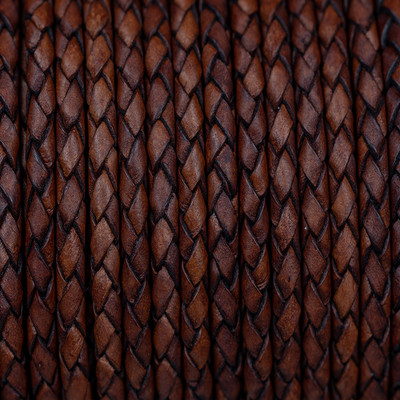 Lederband rund geflochten, 100cm, 4mm, VINTAGE MINK