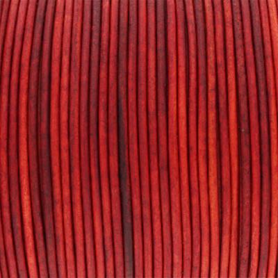 Rundriemen, Lederschnur, 100cm, 1mm, VINTAGE FEUERROT
