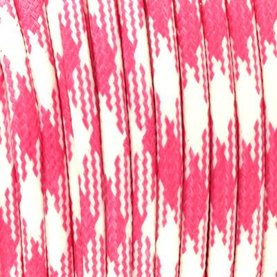 Gewachstes Schmuckband aus Baumwolle, 100cm, 3mm, ROSA-WEISS