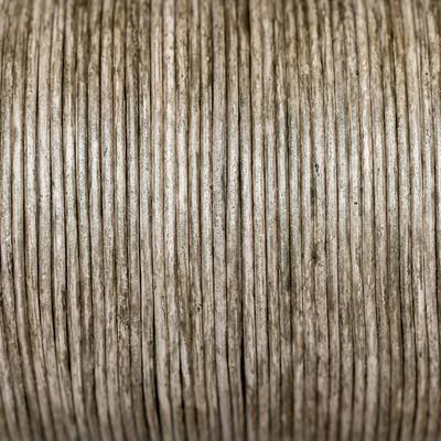Rundriemen, Lederschnur, 100cm, 1mm, METALLIC CHINCHILLA meliert
