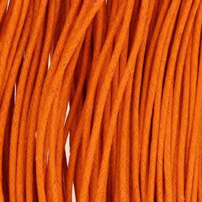 Gewachstes Schmuckband aus Baumwolle, 100cm, 2mm breit, orange