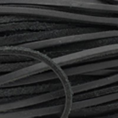Flachriemen Rindsleder, 100cm, 3 x 2,2mm, SCHWARZ