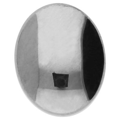Cabochon, oval, 1 Stück, 10x8x3mm, Hämatit