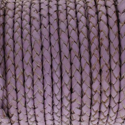 Lederband rund geflochten, 100cm, 5mm, VIOLETT