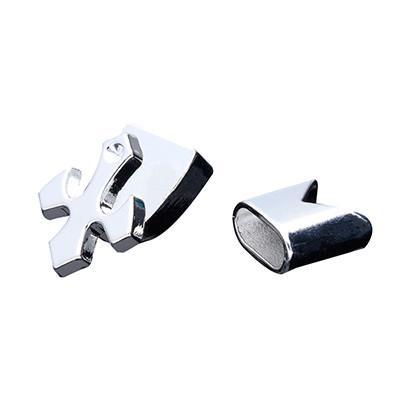 Armbandhaken-Verschluss, 20x16mm, Metall, silberfarben, Kappe 13x13mm, innen 10x5mm