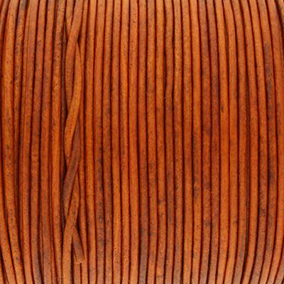 Rundriemen, Lederschnur, 100cm, 1,5mm, BURNT ORANGE VINTAGE